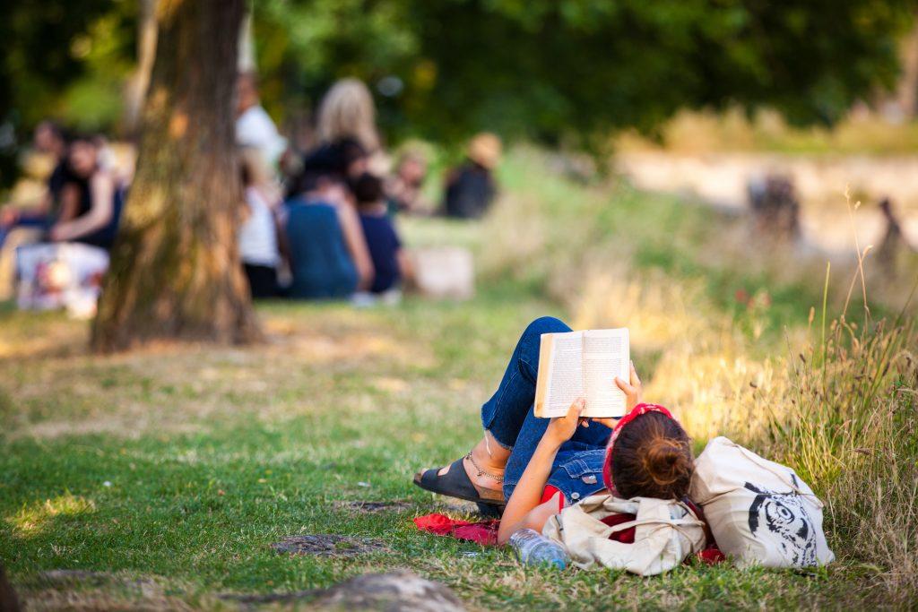 lecture dans parc en ete